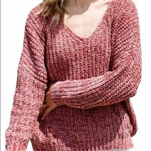 Rose Chenille V-Neck Soft Slouch Sweater